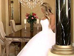 Bride in beautiful wedding dress spreading legs [2 min.]