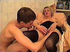 Mature lady and a young guy take some wine [19:15 min.]